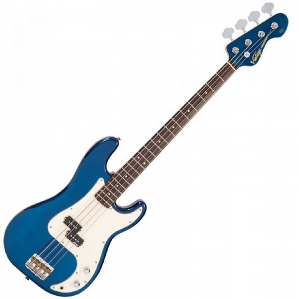 VINTAGE V4BBL V4 REISSUED BASS GUITAR ~ BAYVIEW BLUE